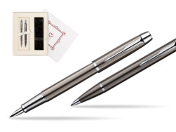 "Parker IM Gun Metal CT Fountain Pen + Parker IM Gun Metal CT Ballpoint Pen in a Gift Box  ""Pure Love"""