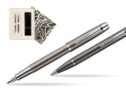 Parker IM Gun Metal CT Fountain Pen + Parker IM Gun Metal CT Ballpoint Pen in a Gift Box  Standard