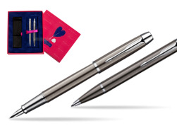 Parker IM Gun Metal CT Fountain Pen + Parker IM Gun Metal CT Ballpoint Pen in a Gift Box  Love