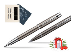 Parker IM Gun Metal CT Fountain Pen + Parker IM Gun Metal CT Ballpoint Pen in a Gift Box  Christmas navy blue