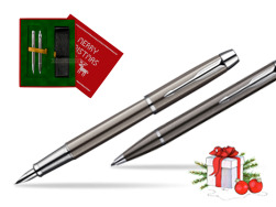 Parker IM Gun Metal CT Fountain Pen + Parker IM Gun Metal CT Ballpoint Pen in a Gift Box  Christmas red