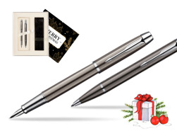 Parker IM Gun Metal CT Fountain Pen + Parker IM Gun Metal CT Ballpoint Pen in a Gift Box  Magic of Christmas