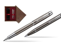 Parker IM Gun Metal CT Fountain Pen + Parker IM Gun Metal CT Ballpoint Pen in a Gift Box  double wooden box Wenge Double Maroon