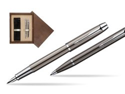 Parker IM Gun Metal CT Fountain Pen + Parker IM Gun Metal CT Ballpoint Pen in a Gift Box  double wooden box Wenge Double Ecru
