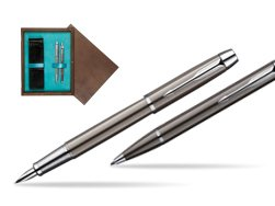 Parker IM Gun Metal CT Fountain Pen + Parker IM Gun Metal CT Ballpoint Pen in a Gift Box  double wooden box Wenge Double Turquoise