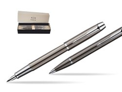 Parker IM Gun Metal CT Fountain Pen + Parker IM Gun Metal CT Ballpoint Pen in a Gift Box