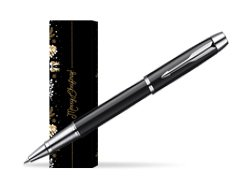 Parker IM Black Lacquer CT Rollerball Pen in cover Golden Tree