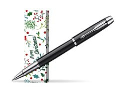 Parker IM Black Lacquer CT Rollerball Pen in cover Merry Mistletoe