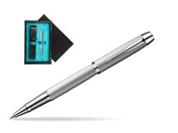 Parker IM Silver CT Rollerball Pen  single wooden box  Black Single Turquoise