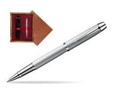 Parker IM Silver CT Rollerball Pen in single wooden box Mahogany Single Maroon