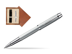 Parker IM Silver CT Rollerball Pen in single wooden box  Mahogany Single Ecru