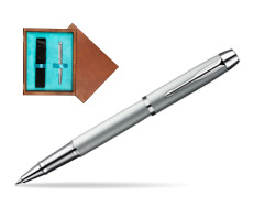 Parker IM Silver CT Rollerball Pen in single wooden box  Mahogany Single Turquoise
