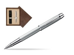 Parker IM Silver CT Rollerball Pen in single wooden box  Wenge Single Ecru