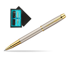 Parker IM Brushed Metal GT Rollerball Pen  single wooden box  Black Single Turquoise