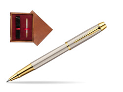 Parker IM Brushed Metal GT Rollerball Pen  single wooden box Mahogany Single Maroon