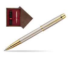 Parker IM Brushed Metal GT Rollerball Pen  single wooden box  Wenge Single Maroon