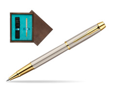 Parker IM Brushed Metal GT Rollerball Pen  single wooden box  Wenge Single Turquoise