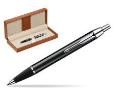 Parker IM Black Lacquer CT Ballpoint Pen  in classic box brown