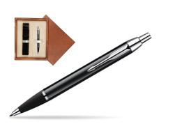 Parker IM Black Lacquer CT Ballpoint Pen  single wooden box  Mahogany Single Ecru