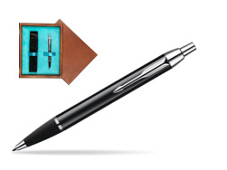 Parker IM Black Lacquer CT Ballpoint Pen  single wooden box  Mahogany Single Turquoise