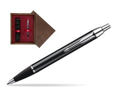 Parker IM Black Lacquer CT Ballpoint Pen  single wooden box  Wenge Single Maroon