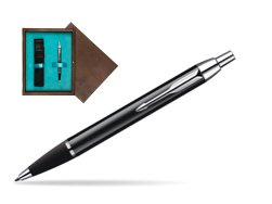 Parker IM Black Lacquer CT Ballpoint Pen  single wooden box  Wenge Single Turquoise
