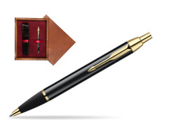Parker IM Black Lacquer GT Ballpoint Pen  single wooden box Mahogany Single Maroon