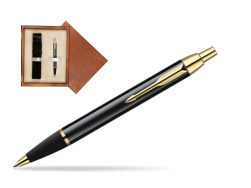 Parker IM Black Lacquer GT Ballpoint Pen  single wooden box  Mahogany Single Ecru