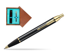 Parker IM Black Lacquer GT Ballpoint Pen  single wooden box  Mahogany Single Turquoise