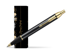 Parker IM Black Lacquer GT Ballpoint Pen in cover Golden Tree