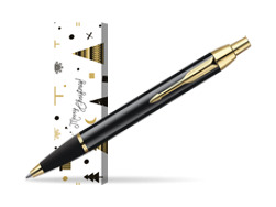 Parker IM Black Lacquer GT Ballpoint Pen in cover Snow Gift