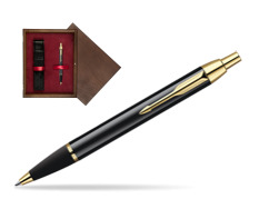 Parker IM Black Lacquer GT Ballpoint Pen  single wooden box  Wenge Single Maroon