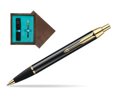 Parker IM Black Lacquer GT Ballpoint Pen  single wooden box  Wenge Single Turquoise