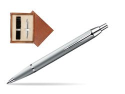 Parker IM Silver CT Ballpoint Pen in single wooden box  Mahogany Single Ecru