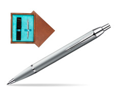 Parker IM Silver CT Ballpoint Pen in single wooden box  Mahogany Single Turquoise