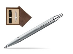 Parker IM Silver CT Ballpoint Pen in single wooden box  Wenge Single Ecru