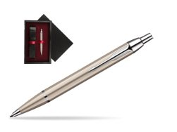 Parker IM Brushed Metal CT Ballpoint Pen  single wooden box  Black Single Maroon