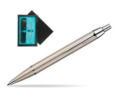 Parker IM Brushed Metal CT Ballpoint Pen  single wooden box  Black Single Turquoise