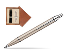 Parker IM Brushed Metal CT Ballpoint Pen in single wooden box  Mahogany Single Ecru