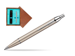 Parker IM Brushed Metal CT Ballpoint Pen in single wooden box  Mahogany Single Turquoise