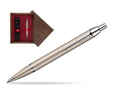 Parker IM Brushed Metal CT Ballpoint Pen  single wooden box  Wenge Single Maroon