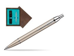 Parker IM Brushed Metal CT Ballpoint Pen in single wooden box  Wenge Single Turquoise