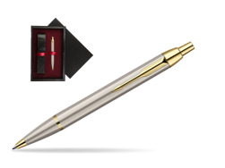 Parker IM Brushed Metal GT Ballpoint Pen  single wooden box  Black Single Maroon