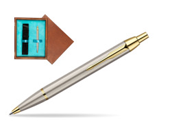Parker IM Brushed Metal GT Ballpoint Pen  single wooden box  Mahogany Single Turquoise