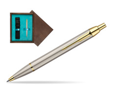 Parker IM Brushed Metal GT Ballpoint Pen  single wooden box  Wenge Single Turquoise