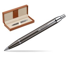 Parker IM Gun Metal CT Ballpoint Pen  in classic box brown