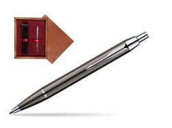 Parker IM Gun Metal CT Ballpoint Pen in single wooden box Mahogany Single Maroon