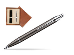 Parker IM Gun Metal CT Ballpoint Pen in single wooden box  Mahogany Single Ecru