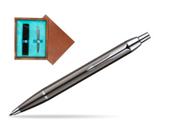 Parker IM Gun Metal CT Ballpoint Pen in single wooden box  Mahogany Single Turquoise