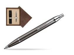 Parker IM Gun Metal CT Ballpoint Pen in single wooden box  Wenge Single Ecru